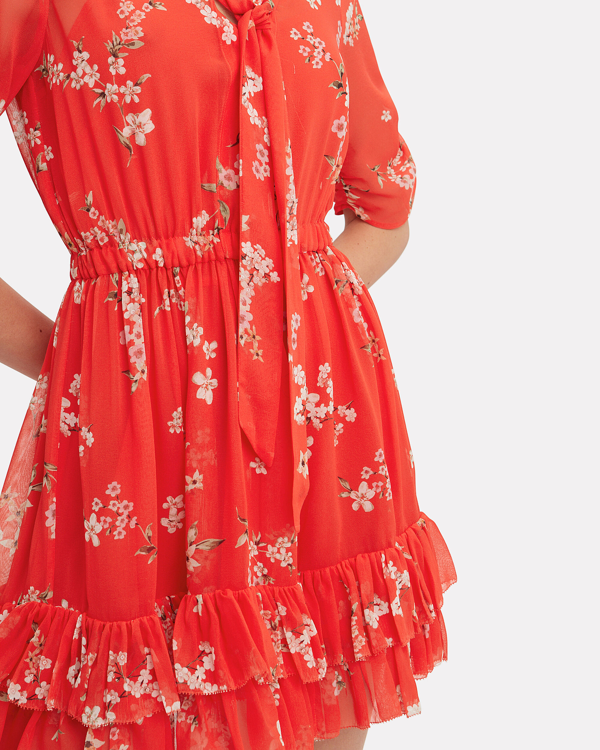 Floral Ruffle Mini Dress, RED/BEIGE, hi-res