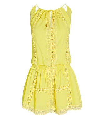 Chelsea Lace-Trimmed Mini Dress, YELLOW, hi-res