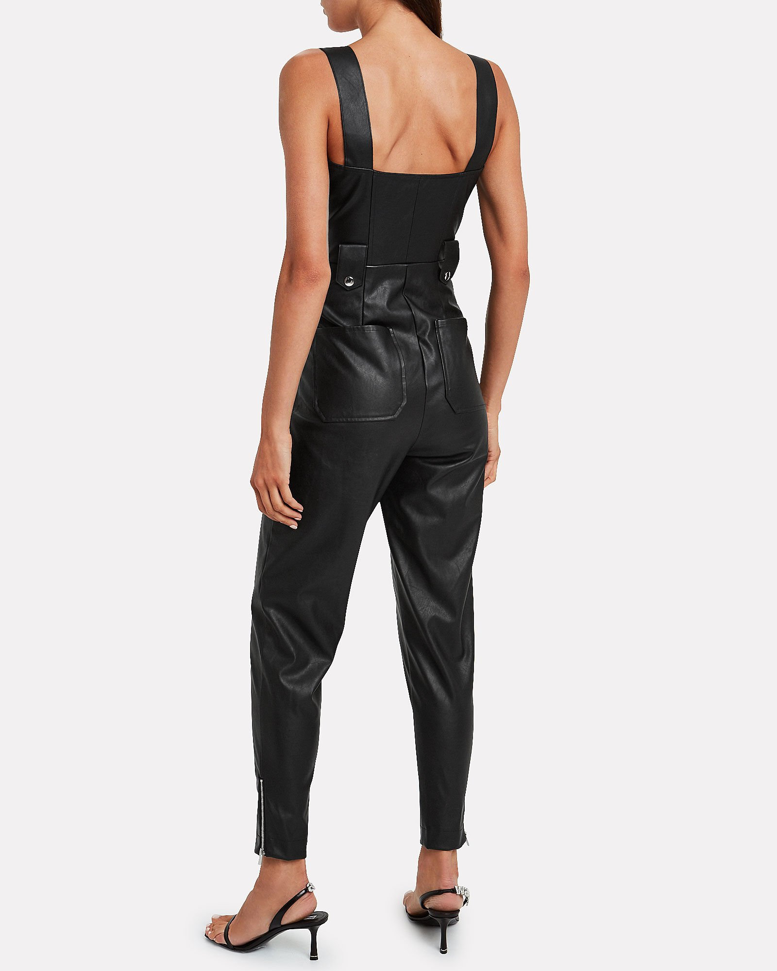 Moto Vegan Leather Overalls, BLACK, hi-res