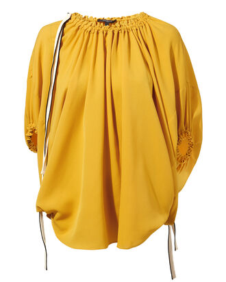 Drawstring Detail Balloon Blouse, MUSTARD, hi-res