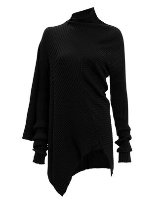 Ribbed Draped Jumper, BLACK, hi-res