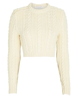 Padded Shoulder Cable Knit Crop Sweater, IVORY, hi-res