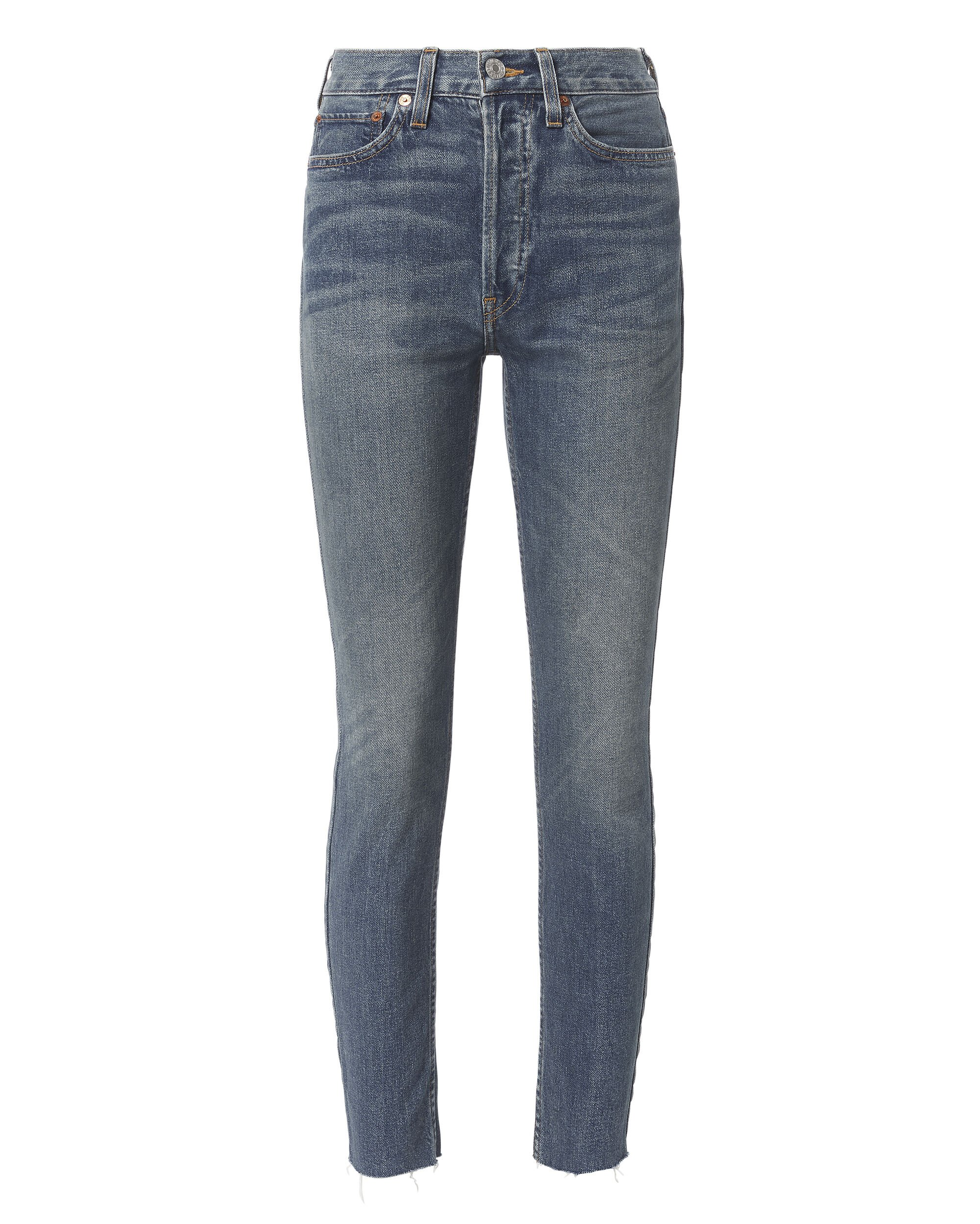 High-Rise Ankle Crop Dark Wash Jeans, DENIM, hi-res