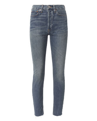 High-Rise Ankle Crop Dark Wash Jeans, DARK DENIM, hi-res