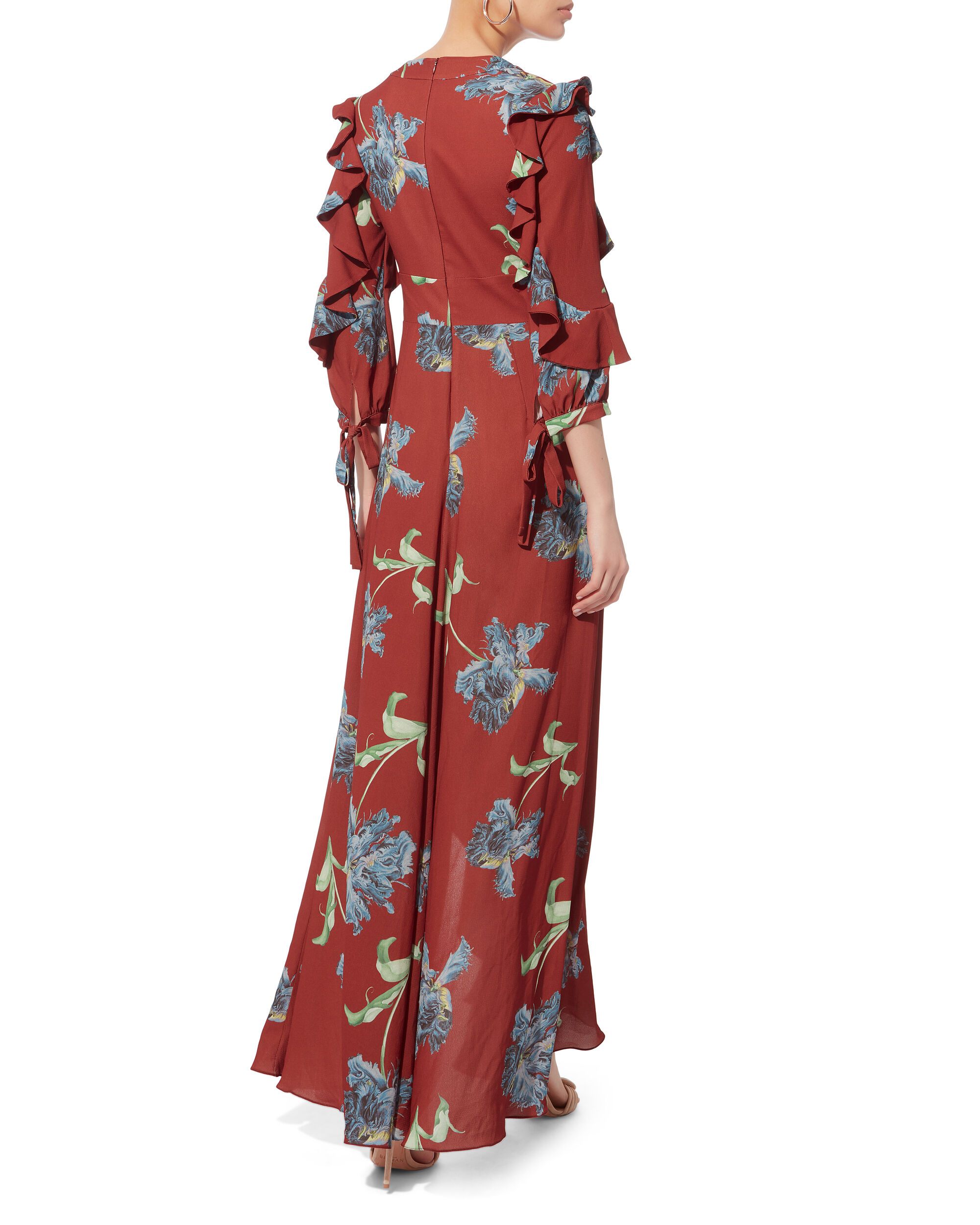 Floral Print Ruffle Maxi Dress, MULTI, hi-res