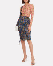 Floral Stretch Ruche Skirt, BLUE-MED, hi-res
