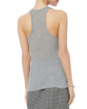 Sheer Wooly Deep-V Ribbed Tank, GREY-LT, hi-res