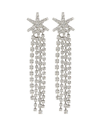 Esta Crystal Star Fringe Earrings, CLEAR, hi-res