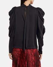Missy Tie-Neck Silk Blouse, BLACK, hi-res