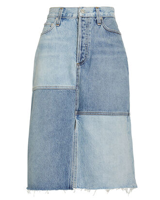Issa Patchwork Denim Skirt, DENIM, hi-res