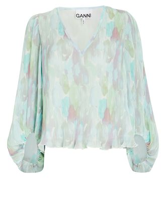 Watercolor Printed Georgette Blouse, PALE GREEN/BLUE, hi-res