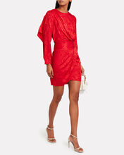 Shanaya Draped Moiré Dress, RED, hi-res