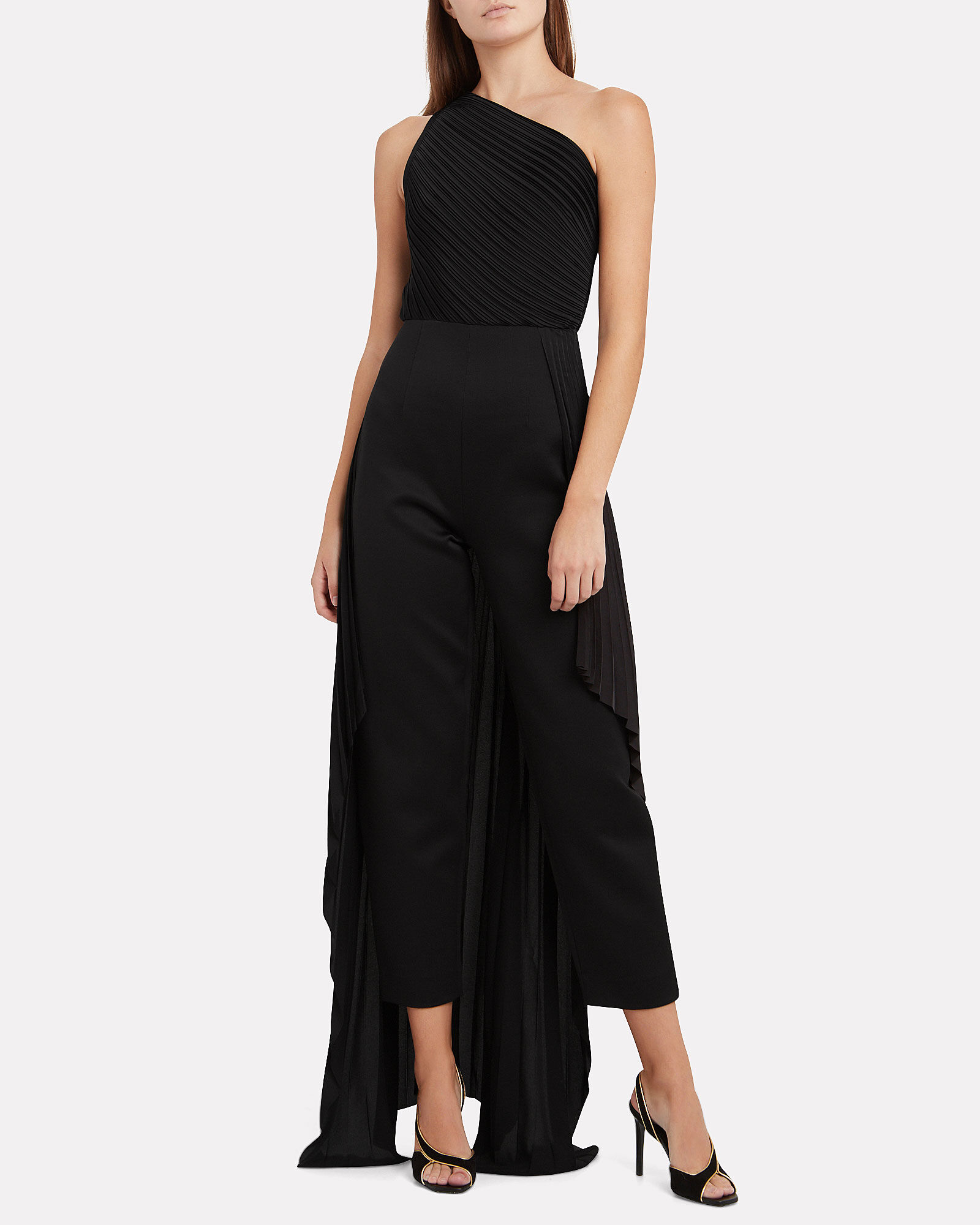 Winnie Pleated One-Shoulder Jumpsuit, BLACK, hi-res