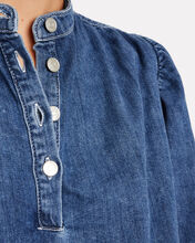 Denim Puff Sleeve Blouse, DENIM, hi-res