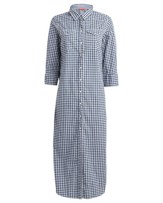 Gingham Cotton Shirt Dress, NAVY/WHITE, hi-res
