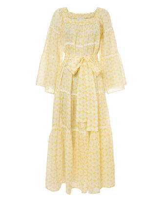 Sheer Peasant Dress, YELLOW, hi-res