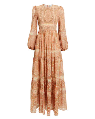 Primrose Paisley Maxi Dress, RUST, hi-res
