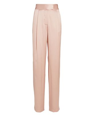 Pleated Wide-Leg Silk Trousers, PINK, hi-res