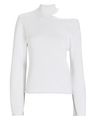 Langley Cut-Out Mock Neck Sweater, WHITE, hi-res