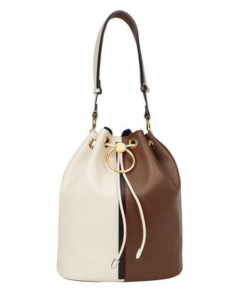 Earring Colorblock Bucket Bag, IVORY/BROWN, hi-res