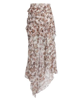 Ruffled Silk Floral Maxi Skirt, IVORY/BEIGE, hi-res