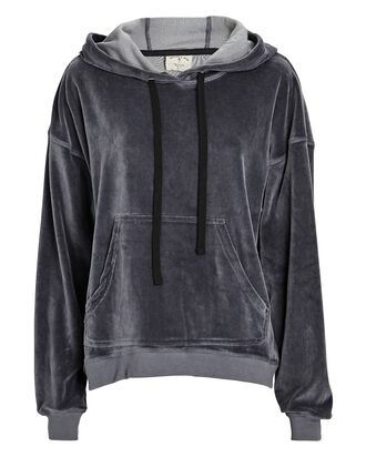 Mateo Hooded Velour Sweatshirt, Grey, hi-res