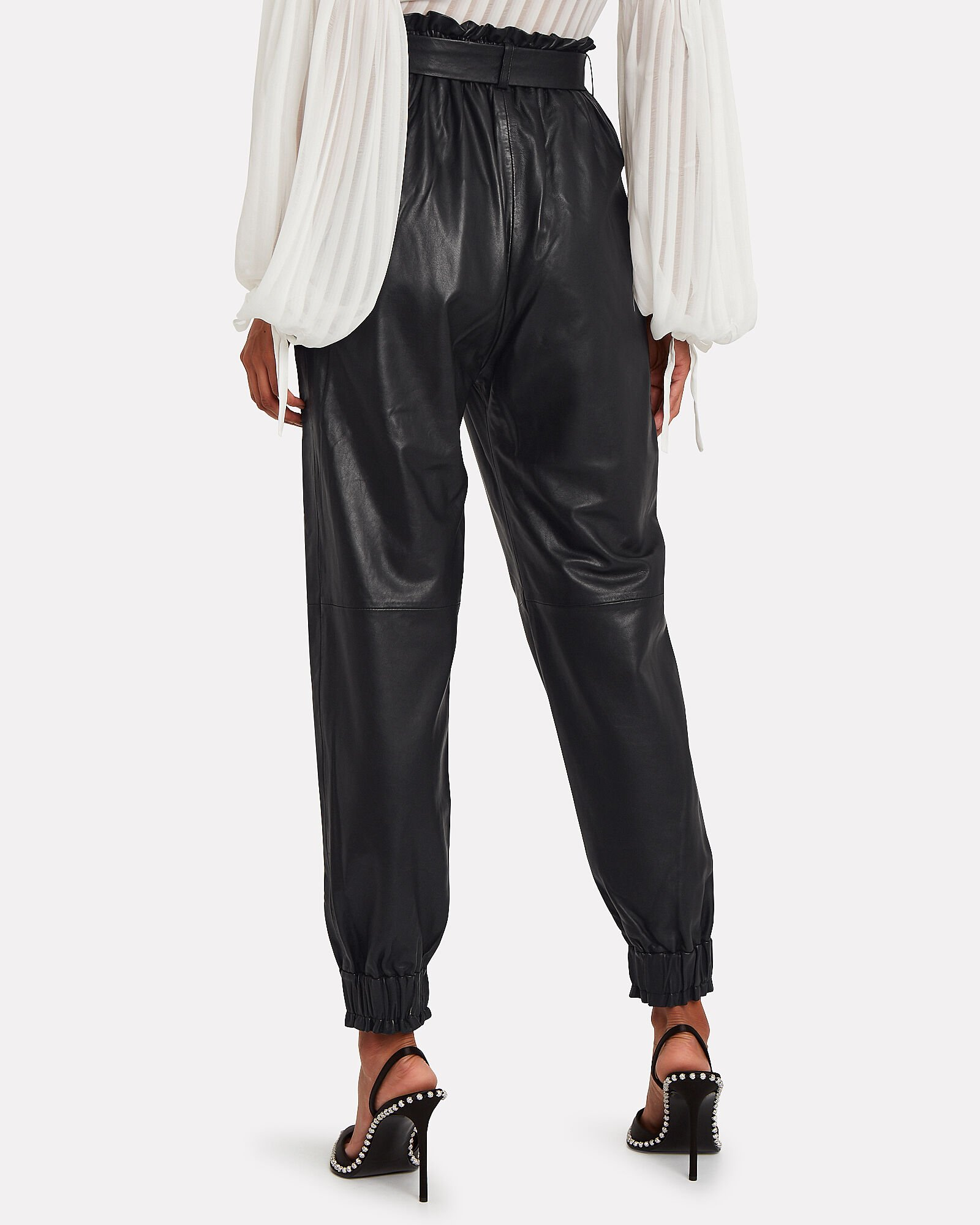 Houdini Leather High-Rise Trousers, BLACK, hi-res