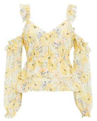 Grace Yellow Off Shoulder Top, YELLOW FLORAL, hi-res
