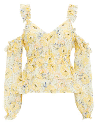 Grace Cold Shoulder Floral Top, YELLOW, hi-res