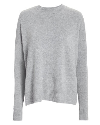 Boxy Silk-Wool Crewneck Sweater, GREY, hi-res
