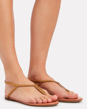 Braided T-Strap Flat Sandals, GOLD, hi-res