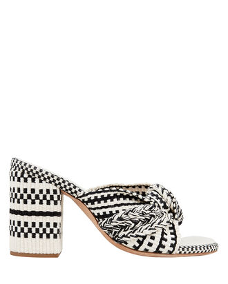 Biagia Knotted High Sandals, BLK/WHT, hi-res