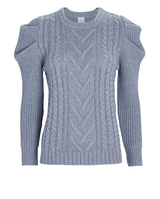 Wengen Cable Knit Puff Sleeve Sweater, BLUE, hi-res