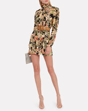 Espionage Lace-Up Floral Mini Dress, MULTI, hi-res