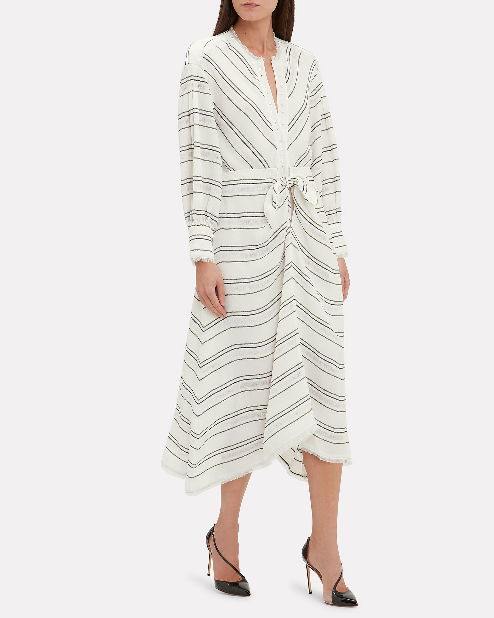 Striped Tie Front Midi Dress, WHITE/BLACK/STRIPE, hi-res
