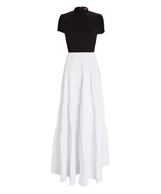 Gage Tiered Colorblock Maxi Dress, BLACK/WHITE, hi-res