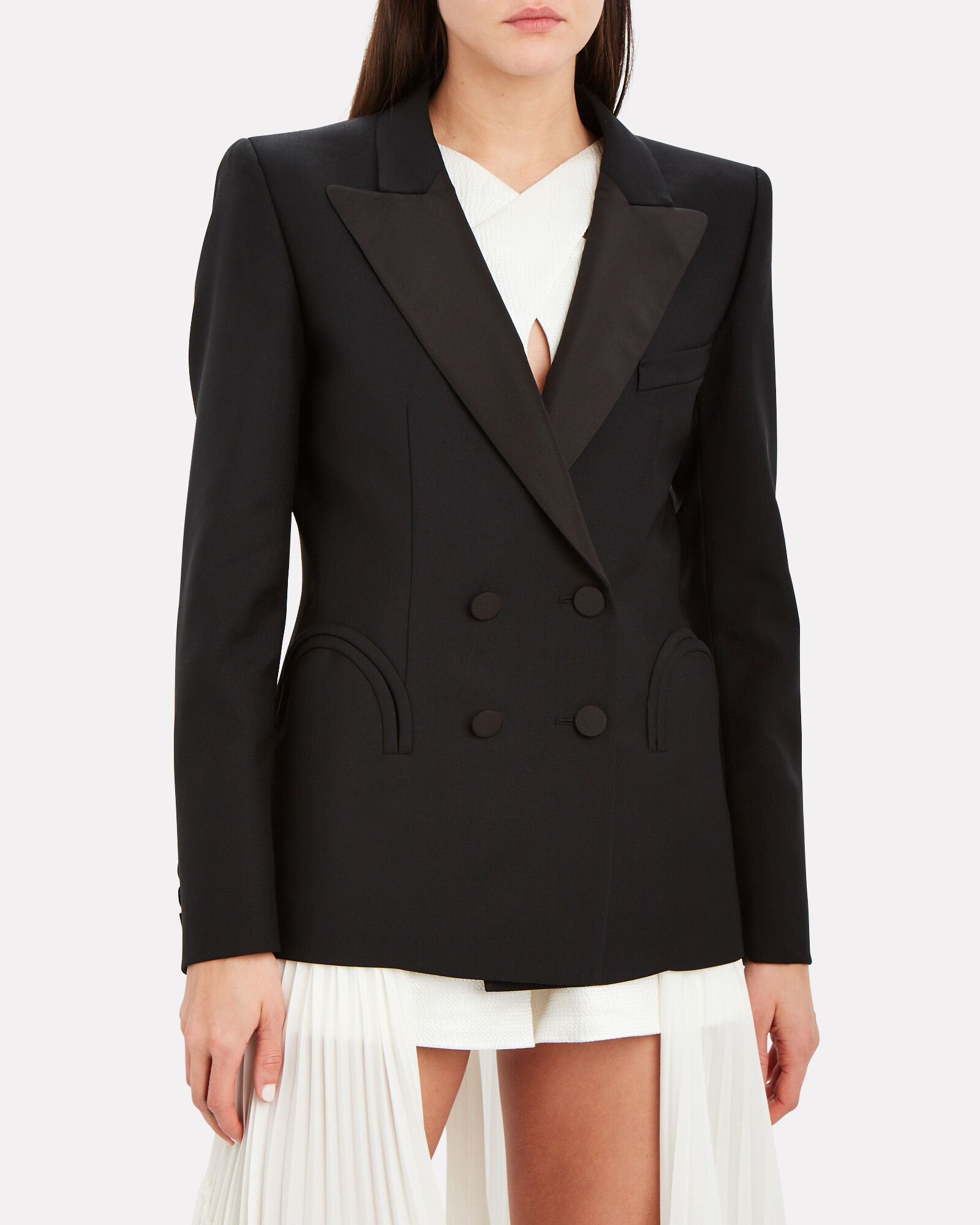 Charmer Fitted Double-Breasted Blazer, BLACK, hi-res
