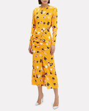 Floral Ruched Crepe Dress, MULTI, hi-res