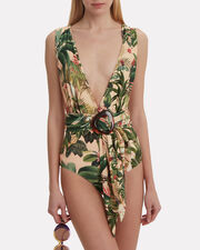 Paradise One Piece Swimsuit, BLUSH/GREEN, hi-res