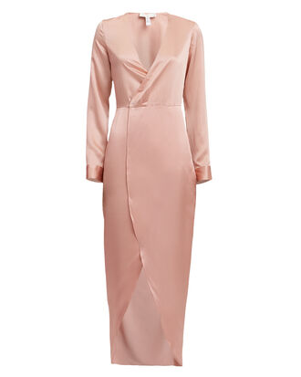 Silk Wrap Dress, PINK, hi-res