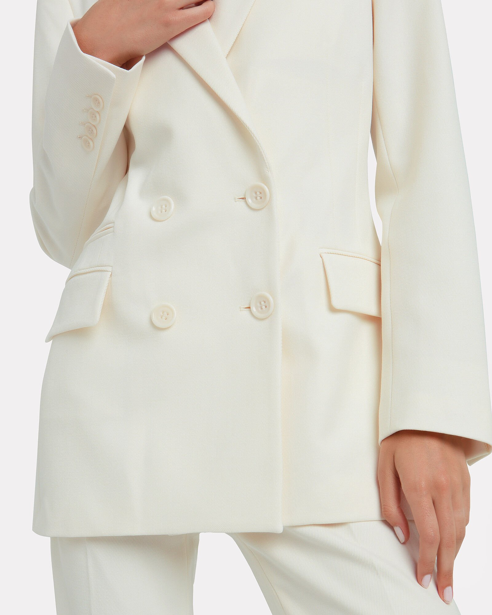 Archie Drill Wool Double Breasted Blazer, IVORY, hi-res