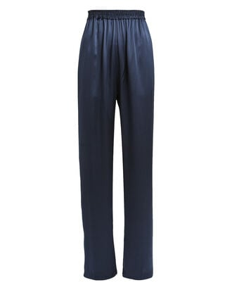 Penelope Silk Charmeuse Pants, NAVY, hi-res