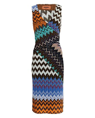 Knit Chevron Sleeveless Midi Dress, MULTI, hi-res