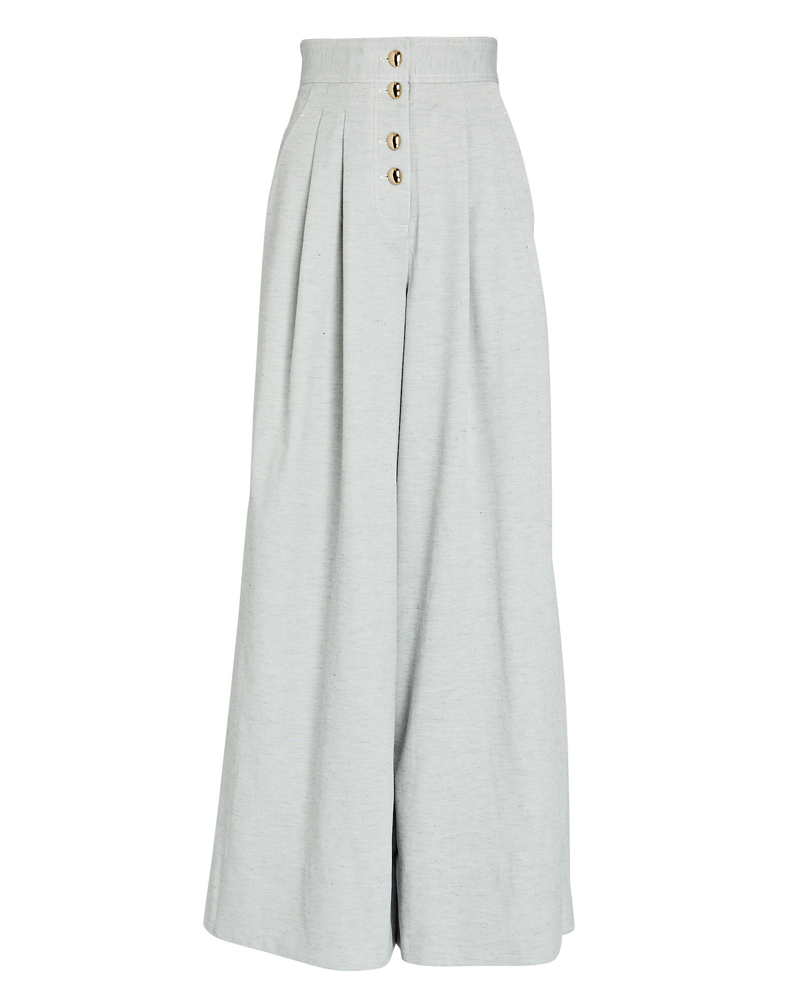 Parkway Pleated Wide-Leg Pants, GREY, hi-res
