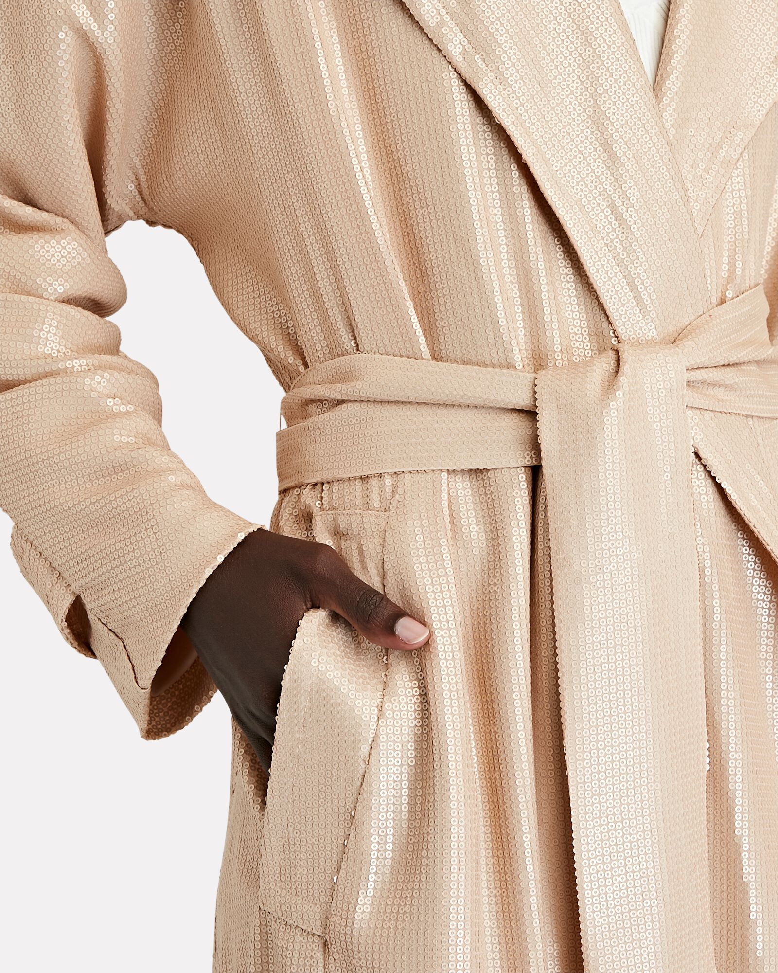 Laurent Sequined Trench Coat, BEIGE, hi-res