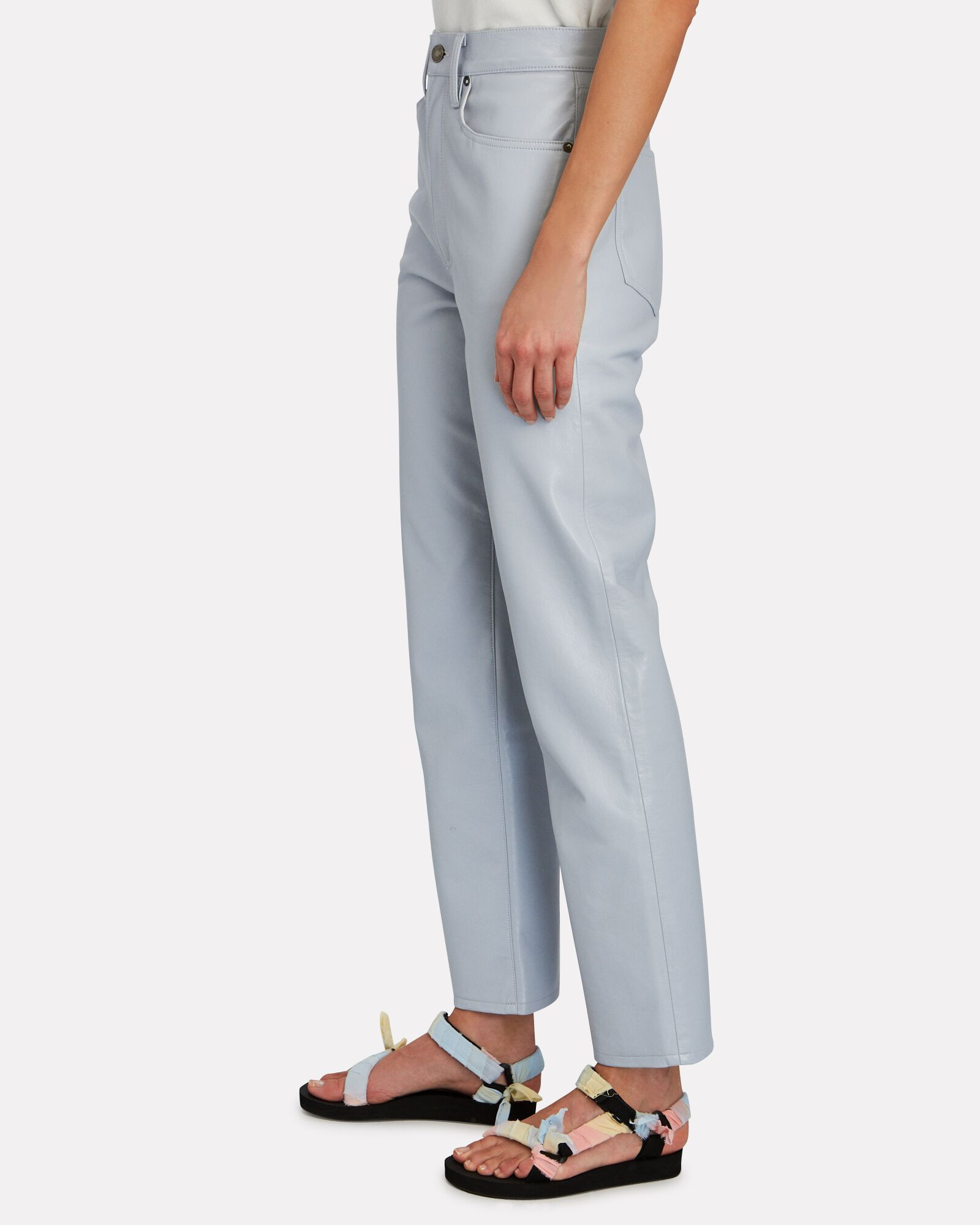 Fitted 90s Recycled Leather Pants, LIGHT BLUE, hi-res
