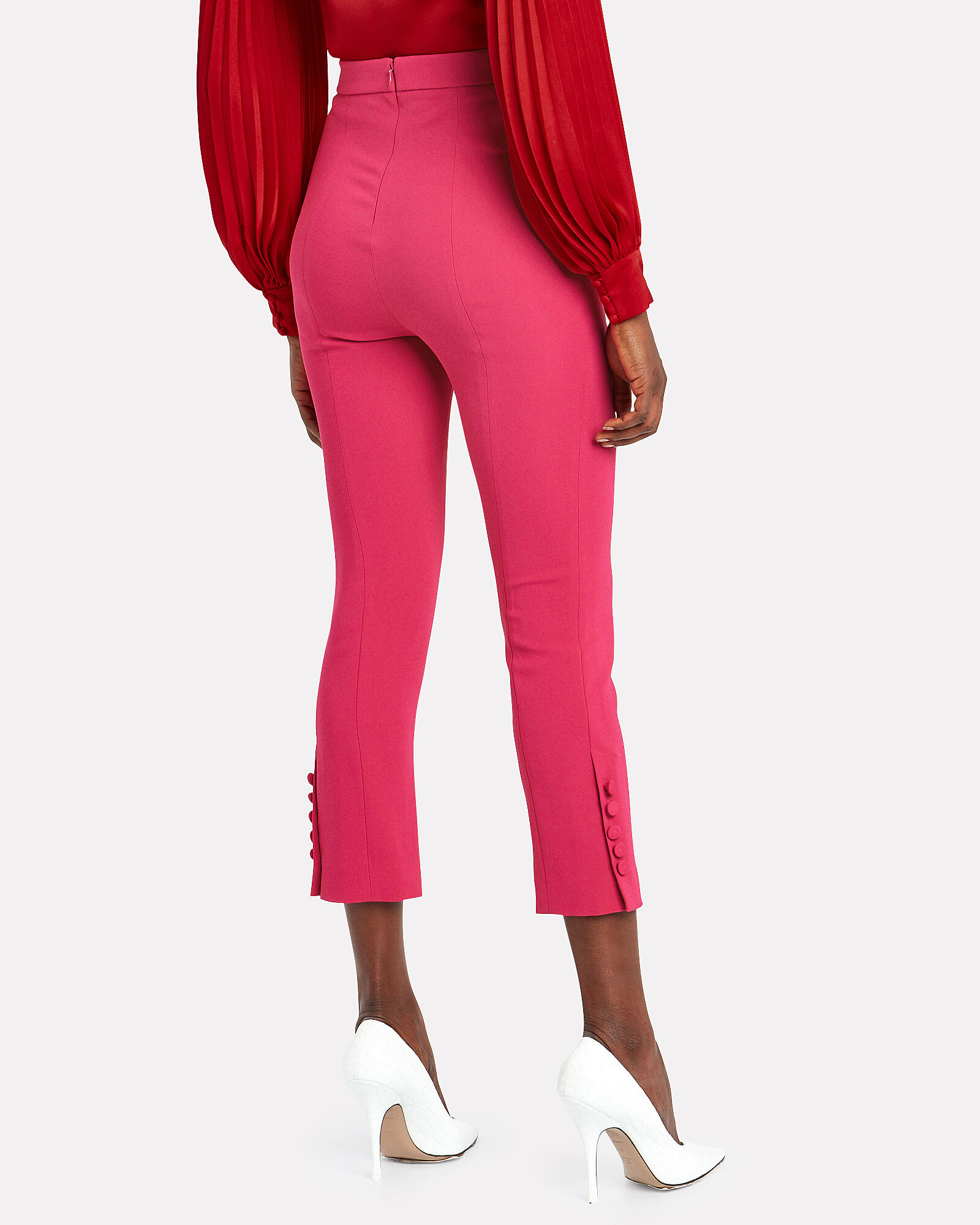 Cropped Crepe Trousers, PINK-DRK, hi-res