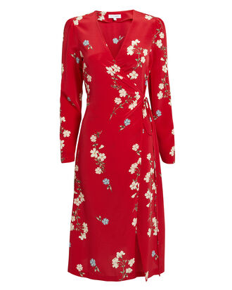 Ottavia Printed Wrap Dress, RED, hi-res