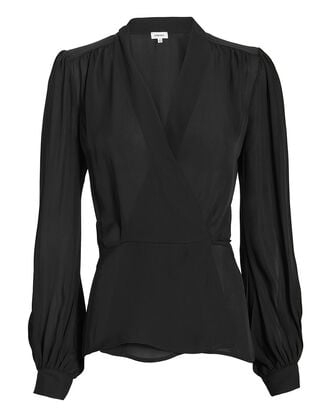 Cara Black Wrap Blouse, BLACK, hi-res