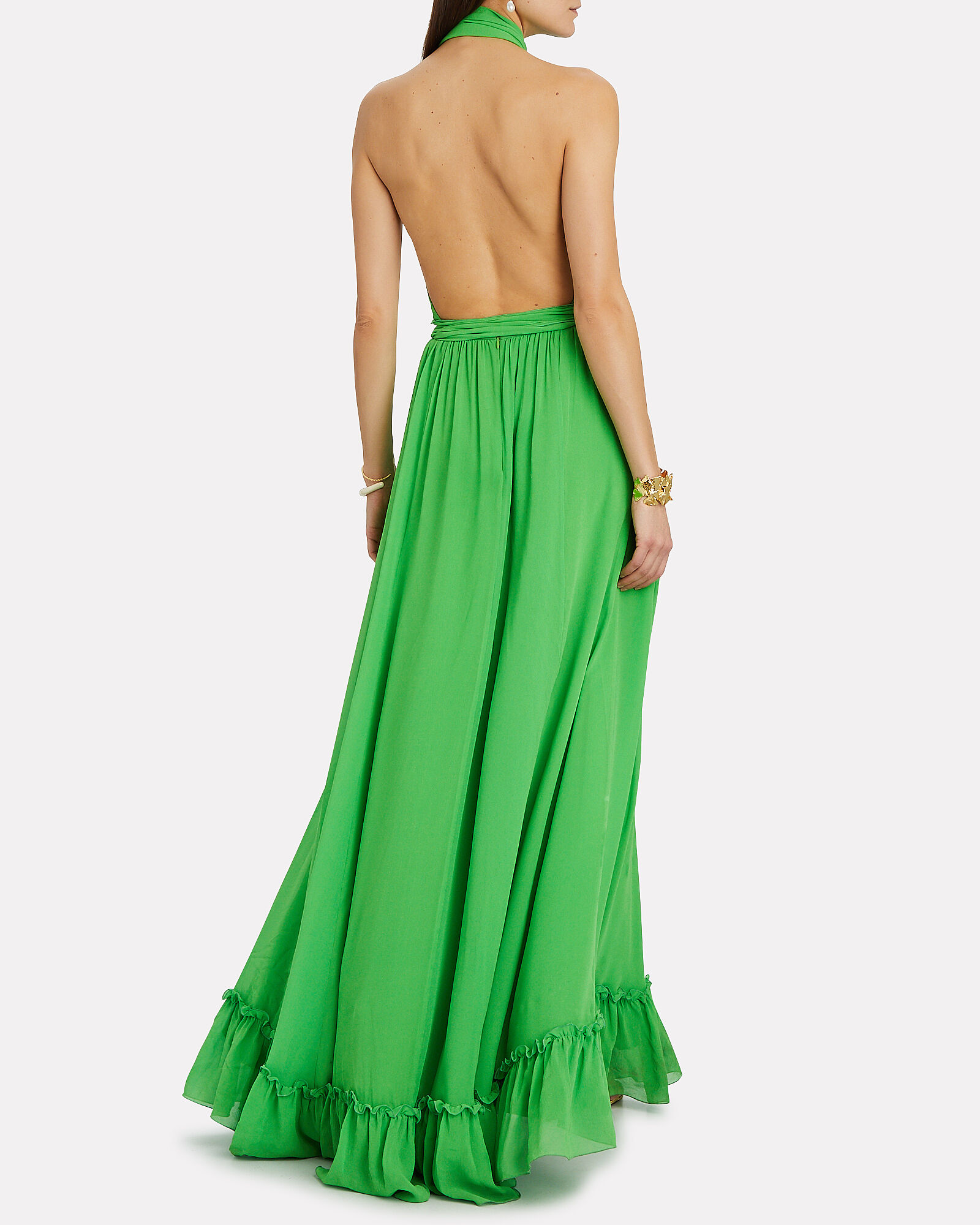 Pleated Halter Silk Gown, GREEN, hi-res